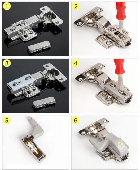 Инструкция установки светодиодной накладки для мебельной петли