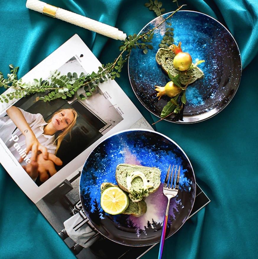 Керамические тарелки с изображением звёздного неба Алиэкспресс