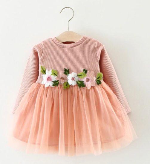 Осеннее платье из хлопка для маленьких леди